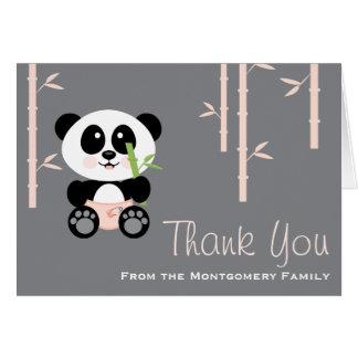 Panda en bambou rose dans le Merci de baby shower Cartes De Vœux