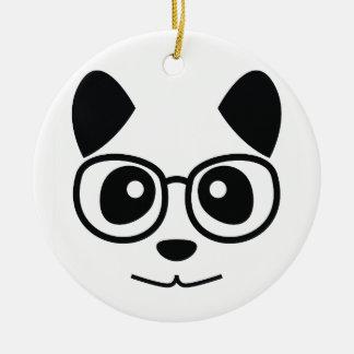Panda et verres ornement rond en céramique