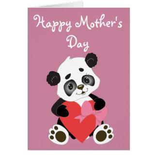 Panda heureux de bébé du jour de mère carte de vœux