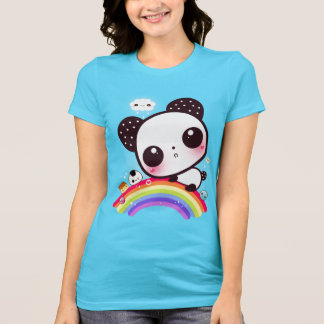 Panda mignon avec la nourriture de kawaii sur l'ar t-shirt