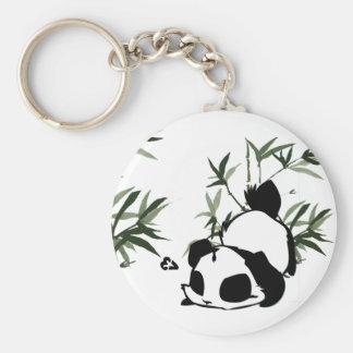 Panda mignon avec le porte - clé en bambou porte-clé rond