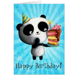 Panda mignon d'anniversaire avec le gâteau carte de vœux