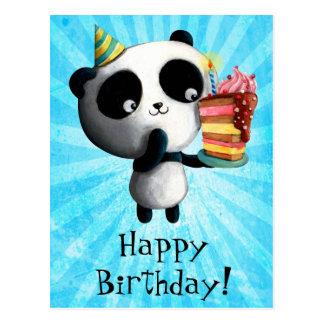 Panda mignon d'anniversaire avec le gâteau carte postale