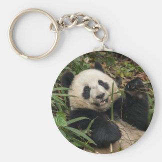 Panda mignon mangeant le bambou porte-clé rond