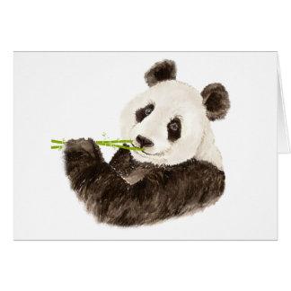 Panda mignon, ours asiatique, animal d'aquarelle carte de vœux