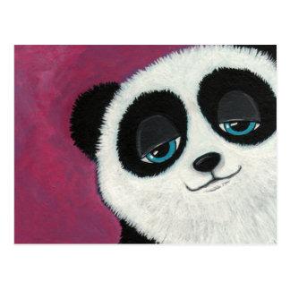 Panda mignon sur la carte postale rose