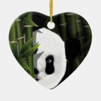 Panda Ornement Cœur En Céramique