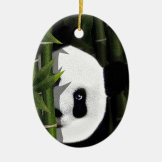 Panda Ornement Ovale En Céramique