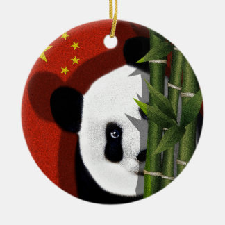 Panda Ornement Rond En Céramique