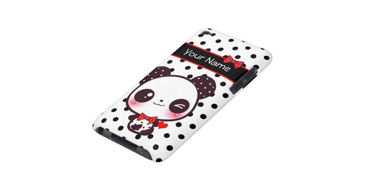 Panda personnalisé de Kawaii sur le pois noir Étui Barely