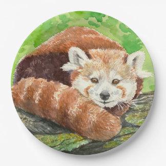Panda rouge assiettes en papier