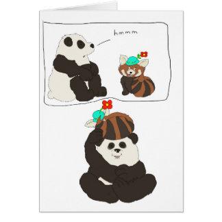 Panda rouge de panda carte de vœux
