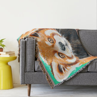 Panda rouge mignon couvre pied de lit