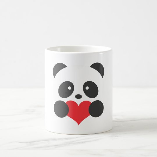 panda tenant une tasse de coeur. Black Bedroom Furniture Sets. Home Design Ideas