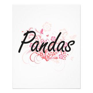 Pandas avec l'arrière - plan de fleurs prospectus 11,4 cm x 14,2 cm