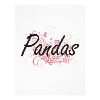 Pandas avec l'arrière - plan de fleurs prospectus 21,6 cm x 24,94 cm
