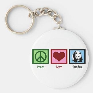 Pandas d amour de paix porte-clefs