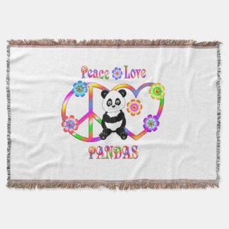 Pandas d'amour de paix couvre pied de lit
