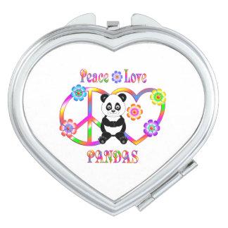 Pandas d'amour de paix miroir compact