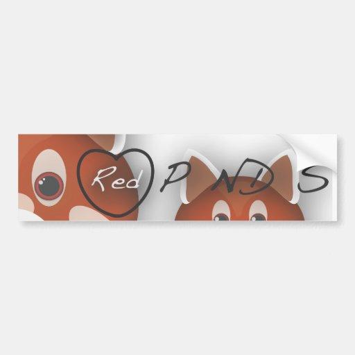 Pandas I <3 rouges Autocollants Pour Voiture
