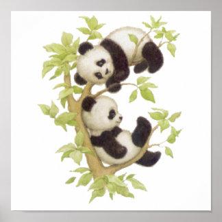 Pandas jouant dans un arbre affiche