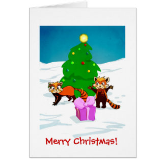 Pandas rouges de Joyeux Noël Carte De Vœux