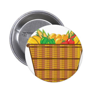 Panier avec le vecteur de fruits et légumes badge