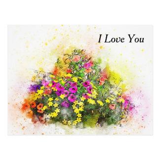 Panier d'aquarelle de jolies fleurs carte postale