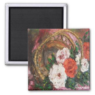 Panier de fleur de peinture d'Ann Hayes d'aimant Magnet Carré