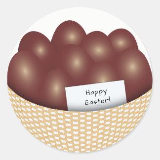Panier de Pâques avec l'autocollant rond d'oeufs Sticker Rond