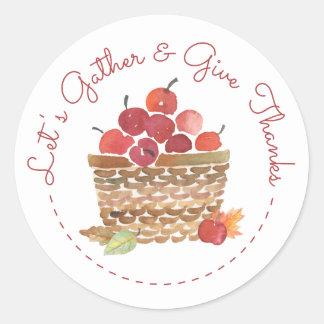 Panier des autocollants de thanksgiving de pommes