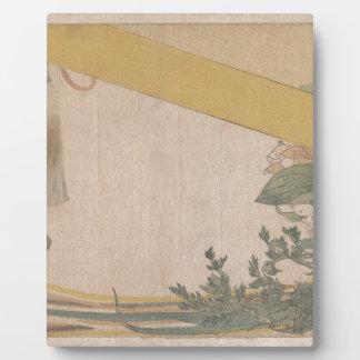 Panier des fleurs avec les abat-jour en bambou plaque d'affichage