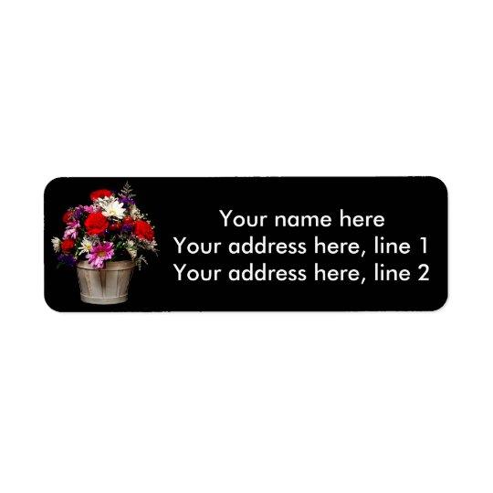 Panier des fleurs étiquette d'adresse retour