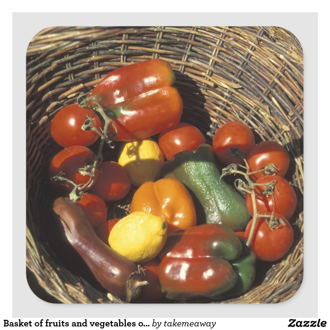 Panier des fruits et l gumes sur l 39 endroit sticker carr zazzle - Fruits et legumes de a a z ...