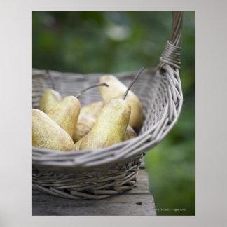 Panier des poires fraîchement sélectionnées poster