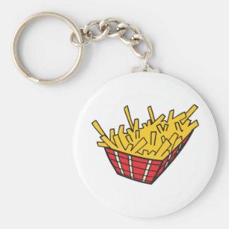 panier des pommes frites porte-clé rond