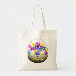 Panier heureux de jour de mères des marguerites et sacs en toile