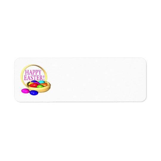 Panier heureux de Pâques Étiquettes D'adresse Retour