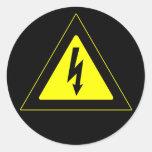 Panneau d'avertissement à haute tension adhésifs ronds