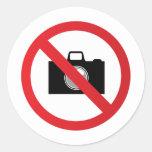 Panneau d'avertissement aucun appareil-photo autocollant rond