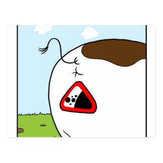 Panneau d'avertissement - bouse de vache en baisse carte postale