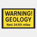 Panneau d'avertissement de géologie autocollants en rectangle