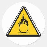Panneau d'avertissement de oxydation autocollant rond