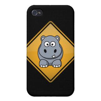 Panneau d'avertissement d'hippopotame de bande des étuis iPhone 4