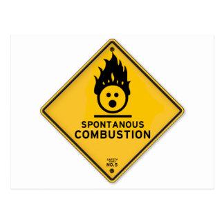 Panneau d'avertissement drôle de combustion carte postale