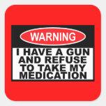 Panneau d'avertissement humoristique d'arme à feu stickers carrés