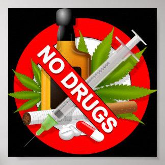 Panneau d'avertissement rouge avec des drogues poster