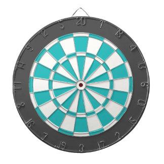 Panneau de dard : Blanc, turquoise, et gris de Jeux De Fléchettes