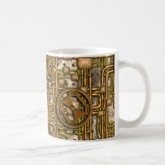 Panneau de Steampunk - vitesses et tuyaux - laiton Tasses À Café