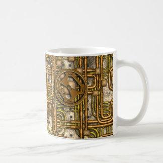 Panneau de Steampunk - vitesses et tuyaux - laiton Mugs À Café